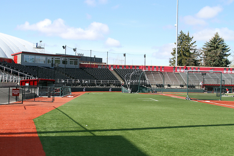 A view from right field towards the press box of Bailey-Brayton Field, the baseball home of the Washington State Cougars baseball team, on the campus of Washington State University in Pullman, Washington.