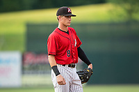 Kannapolis Intimidators third baseman Zach Remillard (8) on defense against the West Virginia Power at Kannapolis Intimidators Stadium on June 17, 2017 in Kannapolis, North Carolina.  The Power defeated the Intimidators 6-1.  (Brian Westerholt/Four Seam Images)