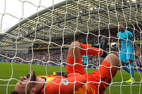 Hugo Lloris of Tottenham Hotspurr screams in pain after being injured during the first goal scored by Neal Maupay of Brighton and Hove Albion during Brighton & Hove Albion vs Tottenham Hotspur, Premier League Football at the American Express Community Stadium on 5th October 2019