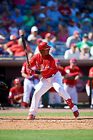 Philadelphia Phillies shortstop Jean Segura (2) at bat during a Grapefruit League Spring Training game against the Baltimore Orioles on February 28, 2019 at Spectrum Field in Clearwater, Florida.  Orioles tied the Phillies 5-5.  (Mike Janes/Four Seam Images)
