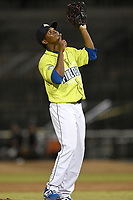 Pitcher Ezequiel Zabaleta (4) of the Columbia Fireflies in a game against the Charleston RiverDogs on Saturday, April 6, 2019, at Segra Park in Columbia, South Carolina. Columbia won, 3-2. (Tom Priddy/Four Seam Images)