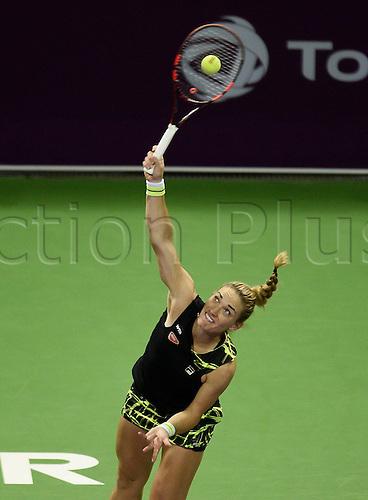24.02.2016. Doha, Qatar.  Timea Babof Hungary competes during the singles third round match against Garbine Muguruza of Spain at the WTA Tennis Damen Qatar Open 2016 in Doha, Qatar, Feb. 24, 2016. Garbine Muguruza won 2-0.