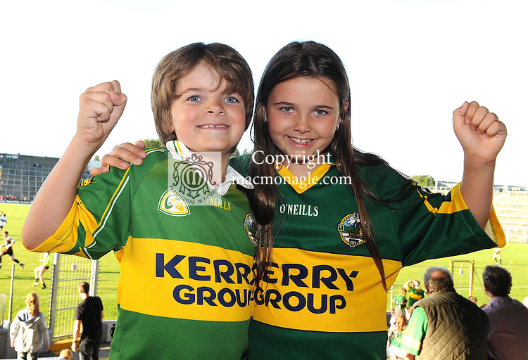 Kerry football fans Bobby Gallivan (7) and his sister Eimear Gallivan (8), are looking forward to the All Ireland semi-final against Dublin on Sunday.  Picture: Eamonn Keogh (MacMonagle, Killarney)