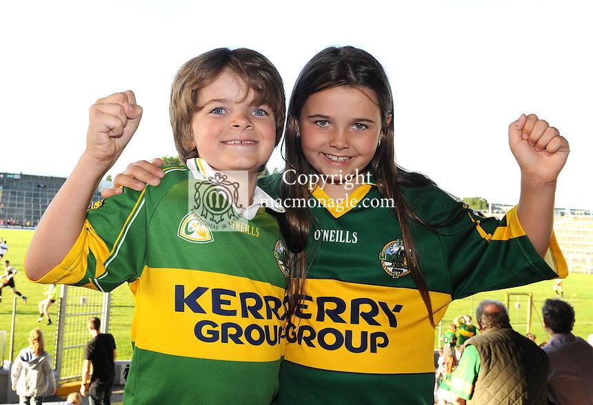 Kerry football fans Bobby Gallivan (7) and his sister Eimear Gallivan (8), are looking forward to the All Ireland semi-final against Dublin on Sunday.  Picture: Eamonn Keogh (MacMonagle, Killarney)