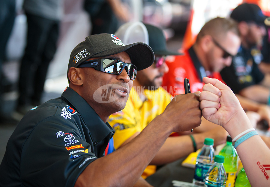 Oct 27, 2018; Las Vegas, NV, USA; NHRA top fuel driver Antron Brown during qualifying for the Toyota Nationals at The Strip at Las Vegas Motor Speedway. Mandatory Credit: Mark J. Rebilas-USA TODAY Sports