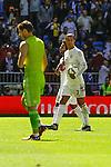 Real Madrid´s Cristiano Ronaldo keeps that ball as a souvenir during 2014-15 La Liga match between Real Madrid and Granada at Santiago Bernabeu stadium in Madrid, Spain. April 05, 2015. (ALTERPHOTOS/Luis Fernandez)