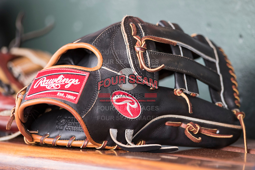 Rawlings baseball glove on June 4, 2017 at Dow Diamond in Midland, Michigan. (Andrew Woolley/Four Seam Images)