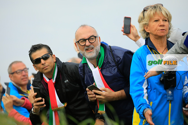 Spectators at the Ryder Cup, Le Golf National, Paris, France. 27/09/2018.<br /> Picture Phil Inglis / Golffile.ie<br /> <br /> All photo usage must carry mandatory copyright credit (© Golffile | Phil Inglis)
