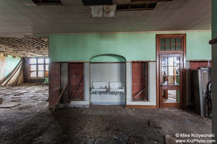 Drinking fountains inside an abandoned school in Park, KS