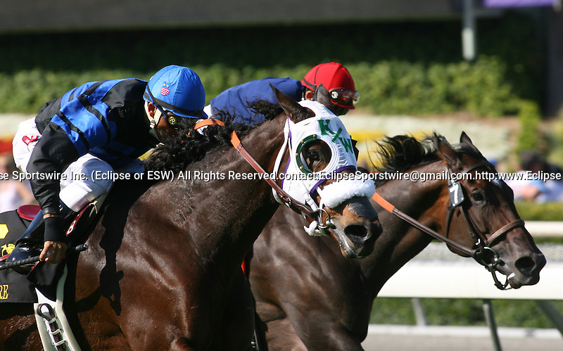 03 October 2009: Bootleg Annie and Rafael Bejarano (outside) win the California Cup Distaff at Oak Tree at Santa Anita Park, Arcadia, CA.