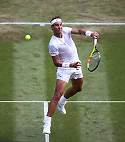 Rafael Nadal (ESP) during his match against Mikhail Kukushkin (KAZ)<br /> <br /> Photographer Rob Newell/CameraSport<br /> <br /> Wimbledon Lawn Tennis Championships - Day 4 - Thursday 5th July 2018 -  All England Lawn Tennis and Croquet Club - Wimbledon - London - England<br /> <br /> World Copyright &not;&copy; 2017 CameraSport. All rights reserved. 43 Linden Ave. Countesthorpe. Leicester. England. LE8 5PG - Tel: +44 (0) 116 277 4147 - admin@camerasport.com - www.camerasport.com