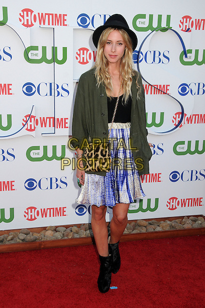 Gillian Zinser.CBS, CW and Showtime Summer 2011 TCA Party held at The Pagoda, Beverly Hills, California, USA..August 3rd, 2011.full length ankle boots hat green jacket skirt top white purple print leopard bag purse black .CAP/ADM/BP.©Byron Purvis/AdMedia/Capital Pictures.