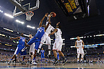 07 April 2014: Dakari Johnson (44) of the University of Kentucky goes up for a rebound against DeAndre Daniels (2) of the University of Connecticut during the 2014 NCAA Men's DI Basketball Final Four Championship at AT&T Stadium in Arlington, TX. Connecticut defeated Kentucky 60-54 to win the national title. Peter Lockley/NCAA Photos
