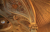 "Detail of capital, drapery, vaulted and painted ceiling between first balcony and second one, Theatre Imperial Napoleon III de Fontainebleau (Fontainebleau Theatre Napoleon III), 1853-1856, by Hector Lefuel, Fontainebleau, Seine-et-Marne, France. Restoration of the theatre began in Spring 2013 thanks to an agreement between the Emirate of Abu Dhabi and the French Governement dedicating 5 M€ to the restoration.  In recognition of the sponsorship by the Emirate of Abu Dhabi, French Governement decided to rename the theatre as ""Theatre Cheikh Khalifa bin Zayed Al Nahyan"" (Cheikh Khalifa bin Zayed Al Nahyan Theatre). The achievement of the first stage of renovation has allowed the opening of the theatre to the public on May 3, 2014. Picture by Manuel Cohen"