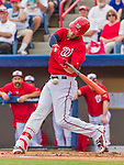 5 March 2015: Washington Nationals outfielder Bryce Harper at bat during a Spring Training game against the New York Mets at Space Coast Stadium in Viera, Florida. The Nationals rallied to defeat the Mets 5-4 in their Grapefruit League home opening game. Mandatory Credit: Ed Wolfstein Photo *** RAW (NEF) Image File Available ***