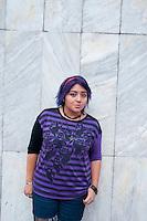 Jacqueline Davila Chavez (19  years old). Portraits of Adolescents, glorieta de Insurgentes, in Mexico City. Release #19