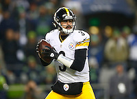 Landry Jones #3 of the Pittsburgh Steelers in action against the Seattle Seahawks during the game at CenturyLink Field on November 29, 2015 in Seattle, Washington. (Photo by Jared Wickerham/DKPittsburghSports)