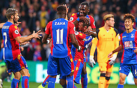 James McArthur celebrates scoring Palaces 1st goal during the EPL - Premier League match between Crystal Palace and Liverpool at Selhurst Park, London, England on 29 October 2016. Photo by Steve McCarthy.