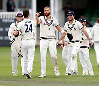 Matt Henry (L) congratulates Ivan Thomas after running out Brett Hutton during the County Championship Division Two (day 3) game between Kent and Northants at the St Lawrence ground, Canterbury, on Sept 4, 2018.
