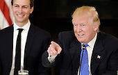 United States President Donald Trump speaks as Jared Kushner his senior adviser looks on during a listening session with manufacturing CEOs  in the State Dining Room  of the White House on February 23, 2017 in Washington, DC.<br /> Credit: Olivier Douliery / Pool via CNP