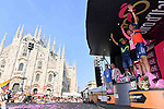Tom Dumoulin (NED) Team Sunweb wins the general classification with Nairo Quintana (COL) Movistar Team 2nd and Vincenzo Nibali (ITA) Bahrain-Merida 3rd at the end of Stage 21, the final stage of the 100th edition of the Giro d'Italia 2017, an individual time trial running 29.3km from Monza Autodrome to Milan Duomo, Italy. 28th May 2017.<br /> Picture: LaPresse/Gian Mattia D'Alberto | Cyclefile<br /> <br /> <br /> All photos usage must carry mandatory copyright credit (&copy; Cyclefile | LaPresse/Gian Mattia D'Alberto)