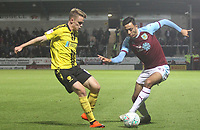 Burnley's Dwight McNeil battles with Burton Albion's Jake Hesketh<br /> <br /> Photographer Mick Walker/CameraSport<br /> <br /> The Carabao Cup Round Three   - Burton Albion  v Burnley - Tuesday  25 September 2018 - Pirelli Stadium - Buron On Trent<br /> <br /> World Copyright © 2018 CameraSport. All rights reserved. 43 Linden Ave. Countesthorpe. Leicester. England. LE8 5PG - Tel: +44 (0) 116 277 4147 - admin@camerasport.com - www.camerasport.com