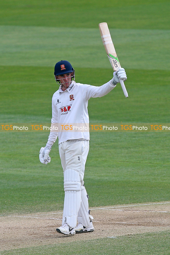 Daniel Lawrence of Essex celebrates scoring a century, 100 runs during Essex CCC vs Lancashire CCC, Specsavers County Championship Division 1 Cricket at The Cloudfm County Ground on 10th April 2017