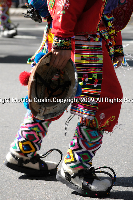 The Hispanic Parade in New York City. Detail of a man wearing traditional clothes and representing Bolivia in the Hispanic Parade in New York City.