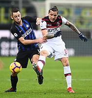 Stefan De Vrij of Internazionale , Federico Santander of Bologna <br /> Milano 03-02-2019 Stadio San Siro Football Serie A 2018/2019 Inter - Bologna    <br /> Foto Image Sport / Insidefoto