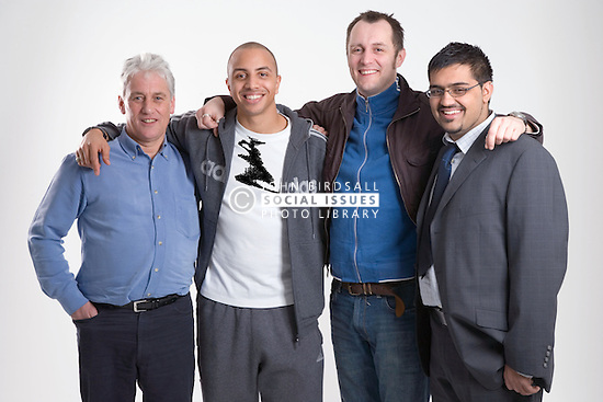 A group of men of different ages; standing together; smiling, Cleared for Mental Health and depression,