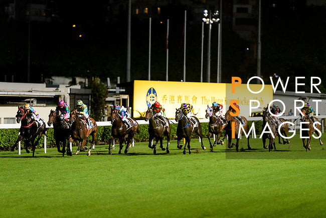 Jockeys riding their horses during the Hong Kong Racing at Happy Valley Race Course on June 13, 2018 in Hong Kong, Hong Kong. Photo by Marcio Rodrigo Machado / Power Sport Images