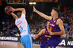 League ACB-ENDESA 2018/2019. Game: 14.<br /> FC Barcelona Lassa vs Monbus Obradoiro: 79-73.<br /> Albert Sabat vs Pierre Oriola.