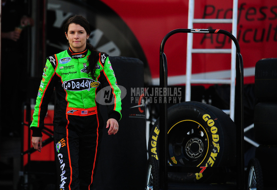 Feb 16, 2011; Daytona Beach, FL, USA; NASCAR Nationwide Series driver Danica Patrick during practice for the DRIVE4COPD 300 at Daytona International Speedway. Mandatory Credit: Mark J. Rebilas-