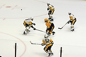 June 11th 2017, Nashville, TN, USA;  Pittsburgh Penguins center Matt Cullen (7), defenseman Ron Hainsey (65), left wing Carl Hagelin (62) and defenseman Brian Dumoulin (8) defend against Nashville Predators left wing Colin Wilson (33) during Game 6 of the Stanley Cup Final between the Nashville Predators and the Pittsburgh Penguins, held on June 11, 2017, at Bridgestone Arena in Nashville, Tennessee.