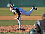 15 April 2008: University of Vermont Catamounts' pitcher Justin Albert, a Junior from Hull, MA, on the mound against the Dartmouth College Big Green at Historic Centennial Field in Burlington, Vermont. The Catamounts rallied from a 7-3 deficit going into the bottom of the ninth, to tie and then win in the tenth: 8-7 over Dartmouth in a non-conference NCAA game...Mandatory Photo Credit: Ed Wolfstein Photo