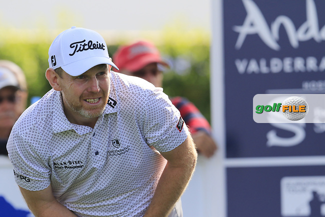 Stephen Gallacher (SCO) tees off the 1st tee during Thursday's Round 1 of the 2017 Valderrama Masters hosted be Fundacion Sergio Garcia, held at Real Club Valderrama, Sotogrande, Andalucia, Spain. 19th October 2017.<br /> Picture: Eoin Clarke | Golffile<br /> <br /> <br /> All photos usage must carry mandatory copyright credit (&copy; Golffile | Eoin Clarke)