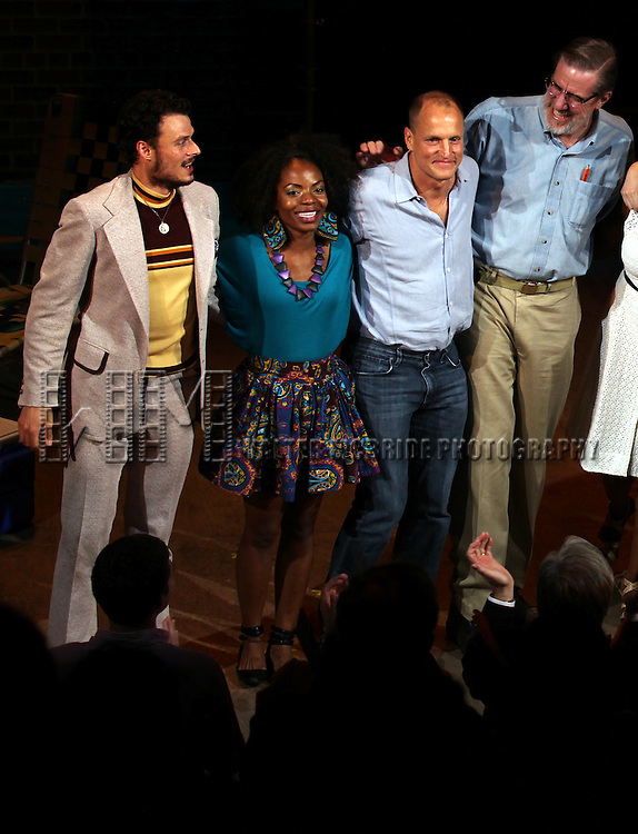Lee Osorio, Marsha Stephanie Blake, Woody Harrelson, Nick Wyman, during the Opening Night Performance Curtain Call for 'Bullet For Adolf' at the New World Stages in New York City on 8/8/2012.