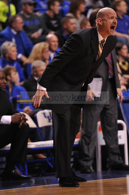 Ole Miss head coach Andy Kennedy yells at his team during the first half of the UK men's basketball team vs Ole Miss at Rupp Arena in Lexington, Ky., on Tuesday, February 4, 2014.  Photo by Eleanor Hasken | Staff