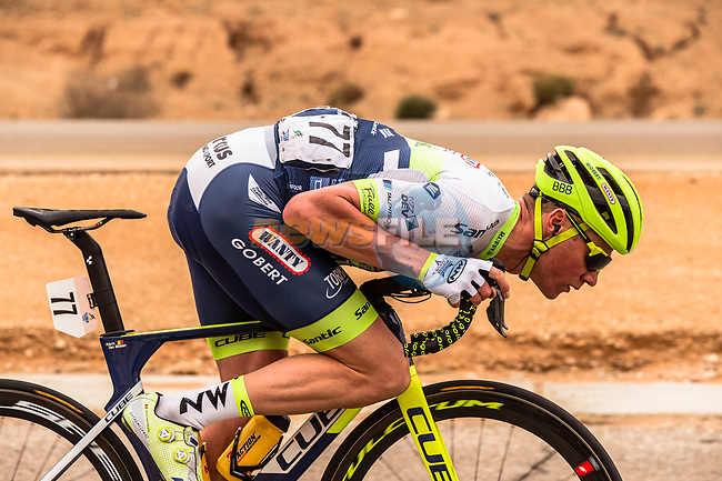 Kevin Van Melsen (BEL) Circus-Wanty Gobert from the breakaway in action during Stage 2 of the Saudi Tour 2020 running 187km from Sadus Castle to Al Bujairi, Saudi Arabia. 5th February 2020. <br /> Picture: ASO/Kåre Dehlie Thorstad | Cyclefile<br /> All photos usage must carry mandatory copyright credit (© Cyclefile | ASO/Kåre Dehlie Thorstad)