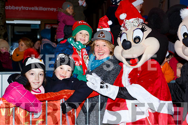 Minnie Mouse met Grainne Creed, Luke, Tucker, Jack Healy and Amelia Tucker at the Kiilarney Christmas parade on Saturday night
