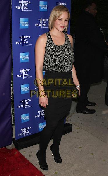 "ABBIE CORNISH .attends the 2010 Tribeca Film Festival Premiere of ""The Killer Inside Me"" at the SVA Theatre, New York, NY, USA, .April 27th, 2010..full length black and white print vest top skirt tights shoes clutch bag tucked in                                                             CAP/LNC/TOM.©LNC/Capital Pictures."