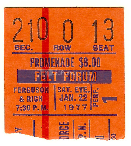 Ticket Stub of Maynard Ferguson and Buddy Rich performing at the Felt Forum, New York City on January 22, 1977. Credit: Arturo Santos/MediaPunch