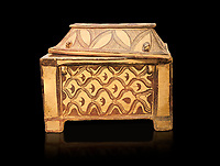 Minoan  pottery coffin chest coffin with gabled lid decorated with a net pattern,  Tylissos-Panokklisia 1350-1250 BC, Heraklion Archaeological  Museum, black background.
