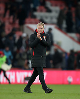 Manager Eddie Howe of Bournemouth claps to the fans after the Premier League match between Bournemouth v West Bromwich Albion played at Vitality Stadium, Bournemouth United Kingdom  on 17 Mar 2018