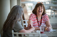 Occidental College alums catch up on old times on Branca Patio during Alumni Reunion Weekend, June 22, 2013. (Photo by Marc Campos, Occidental College Photographer)