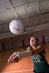 Women's Volleyball Melissa Griffin posed action shot...Melissa Griffin:..Class:.Junior.Hometown:.Whitehall, Mich..High School:.Whitehall.Height:.6-2.Position:.MB