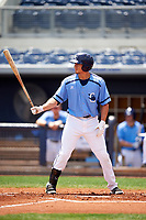 Charlotte Stone Crabs designated hitter David Olmedo-Barrera (15) at bat during a game against the Lakeland Flying Tigers on April 16, 2017 at Charlotte Sports Park in Port Charlotte, Florida.  Lakeland defeated Charlotte 4-2.  (Mike Janes/Four Seam Images)