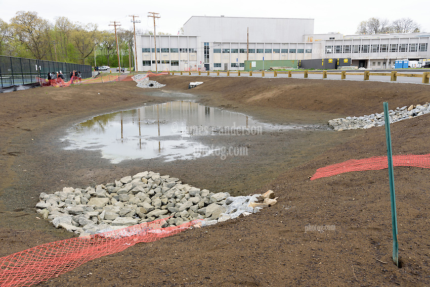 Central High School Bridgeport CT Expansion & Renovate as New. State of CT Project # 015-0174. One of 80 Photographs of Progress Submission 15, 05 May 2016 Pond