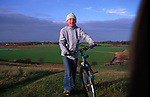 ARM47D Child on country bike ride Burrow Hill Butley Suffolk England