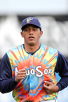Everett Aquasox pitcher Jose Campos #34 before a game against the Tri-City Dust Devils at Everett Memorial Stadium on August 13, 2011 in Everett,Washington. Everett defeated Tri-City 6-4.(Larry Goren/Four Seam Images)
